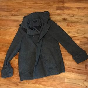 Topshop Grey Wool Double Breasted Pea Coat Womens